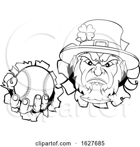 Leprechaun Baseball Mascot Ripping Background by AtStockIllustration