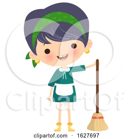 Happy Cleaning Lady with a Broom Posters, Art Prints