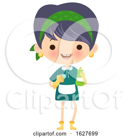 Happy Cleaning Lady with a Bottle and Gloves by Melisende Vector