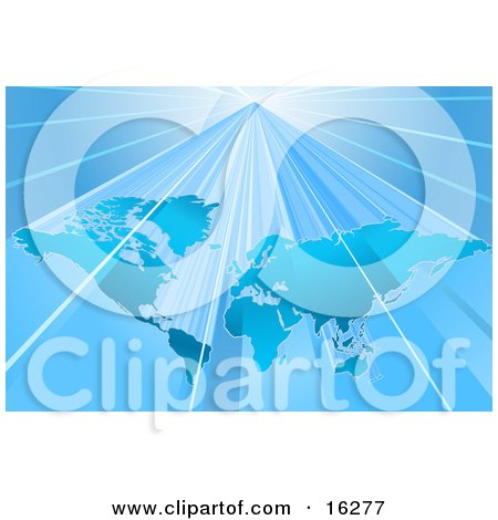 Blue World Map Over A Lighter Blue Background With Bright Beams Of Light Clipart Illustration by AtStockIllustration