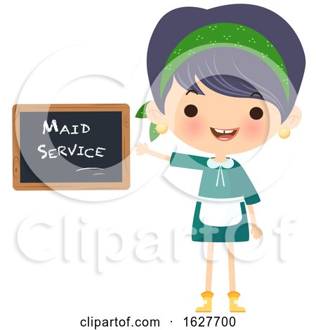 Happy Cleaning Lady Presenting a Maid Service Chalkboard by Melisende Vector