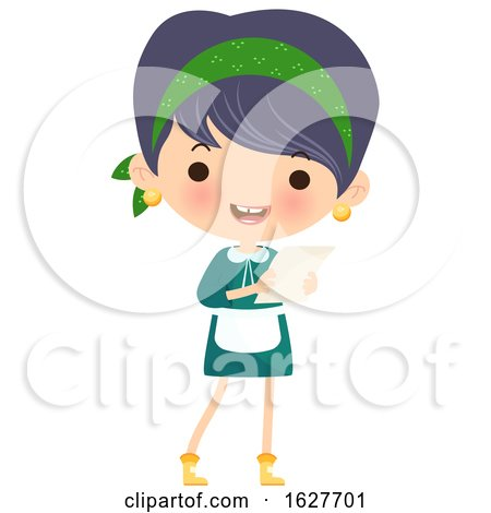 Happy Cleaning Lady Holding a to Do List by Melisende Vector