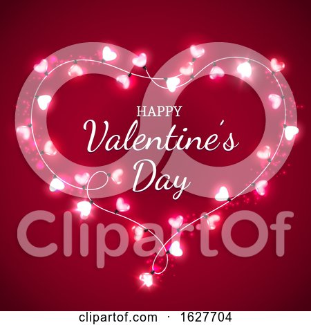 Happy Valentines Day Greeting in a Heart of Lights on Red Posters, Art Prints