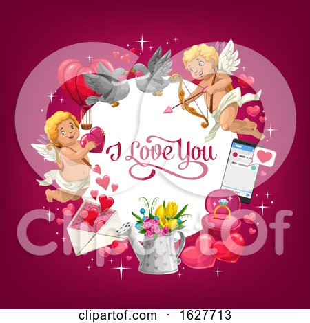 Valentines Day Frame with I Love You Text Posters, Art Prints