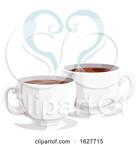 Valentines Day Heart of Steam over Coffee Cups Posters, Art Prints