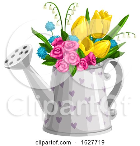 Valentines Day Heart Patterned Watering Can Floral Bouquet Posters, Art Prints