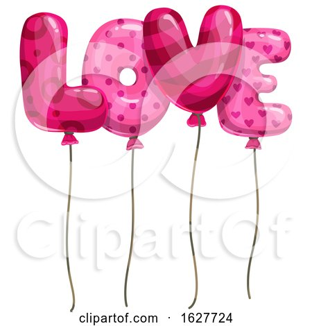 Valentines Day Love Letter Balloons by Vector Tradition SM