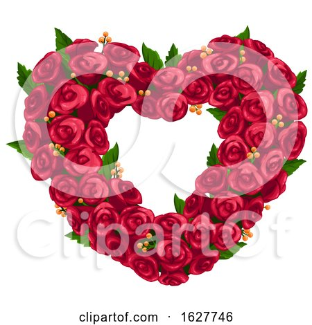 Valentines Day Red Rose Heart Wreath by Vector Tradition SM