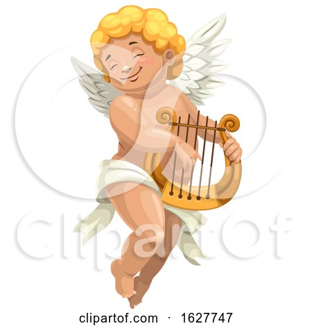Valentines Day Cupid Plying a Lyre by Vector Tradition SM