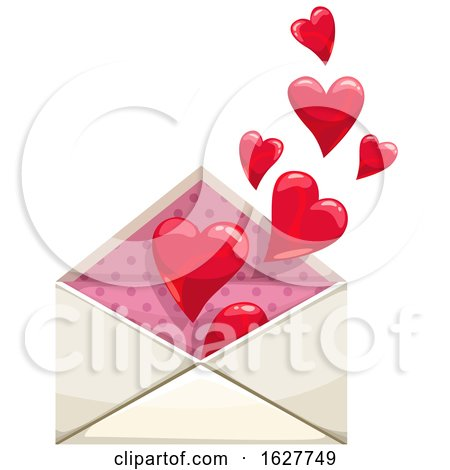 Valentines Day Envelope with Hearts by Vector Tradition SM
