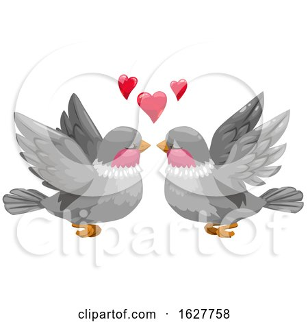 Valentines Day Bird Couple with Hearts by Vector Tradition SM