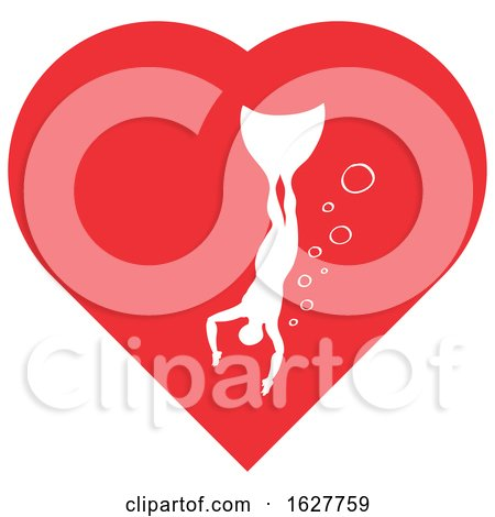 Red Valentine Heart with a Freediver Swimming Posters, Art Prints