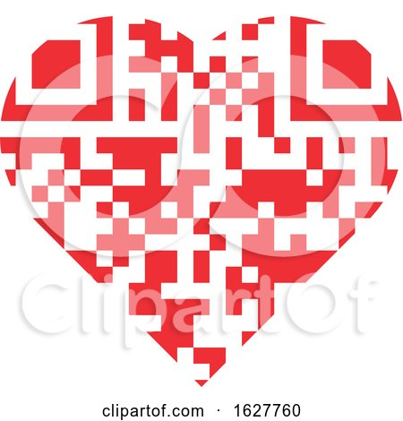 Red Valentine Heart with a QR Code Posters, Art Prints