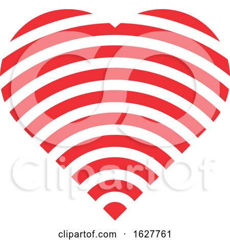 Red Valentine Heart with a Wifi Signal Posters, Art Prints