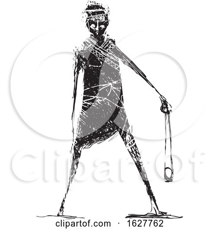 Sketch of David Holding a Stone Sling by xunantunich