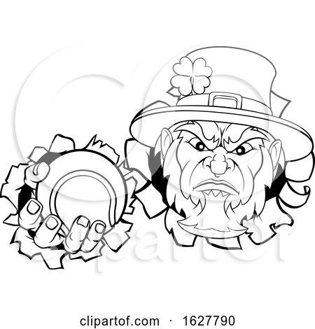 Leprechaun Tennis Mascot Ripping Background by AtStockIllustration