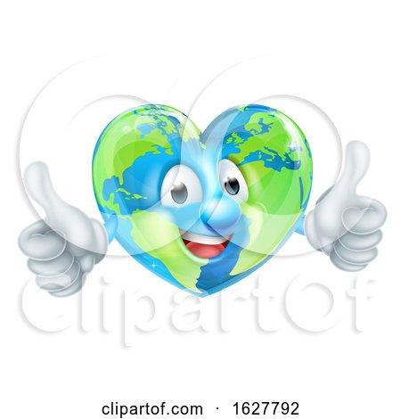 Cartoon Heart World Earth Day Globe Character by AtStockIllustration
