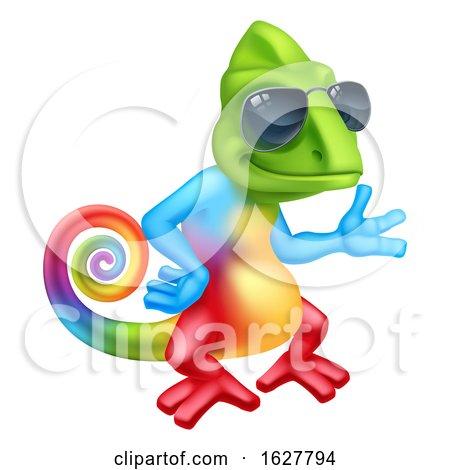 Chameleon Cool Cartoon Lizard Character Sunglasses by AtStockIllustration