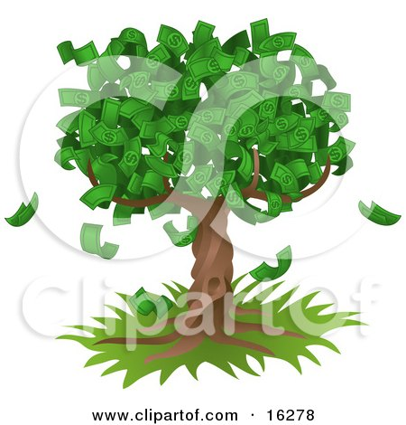 Tree Growing An Abundant Amount Of Dollar Bills, Symbolising Environmental Expenses, Trust Funds, Riches, Etc  Posters, Art Prints