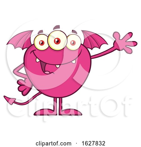 Cartoon Pink Bat Winged Monster Waving by Hit Toon