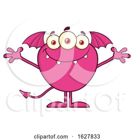 Cartoon Pink Bat Winged Monster Welcoming by Hit Toon
