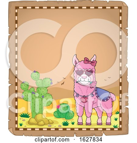 Parchment Border with a Pink Valentine Llama Posters, Art Prints