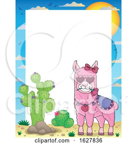 Border with a Pink Valentine Llama Posters, Art Prints
