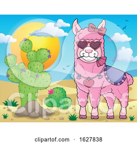 Pink Valentine Llama by a Cactus Posters, Art Prints