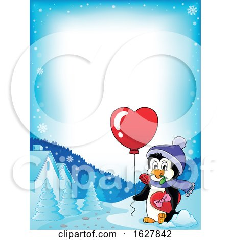 Border of a Valentines Day Penguin with a Heart Balloon Posters, Art Prints