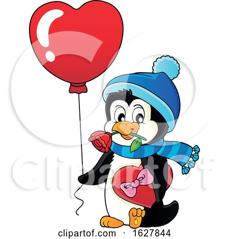 Valentines Day Penguin with a Heart Balloon Posters, Art Prints