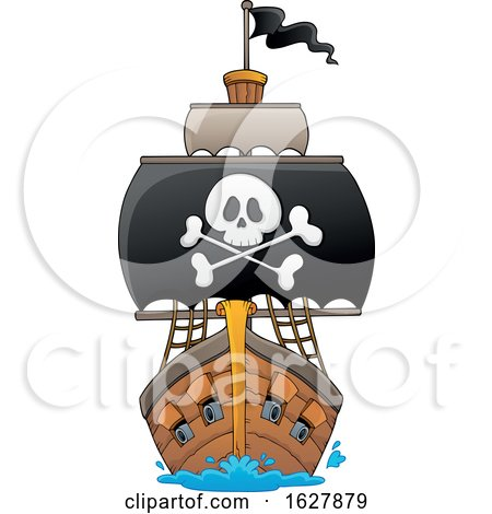 Pirate Ship with a Big Jolly Roger by visekart