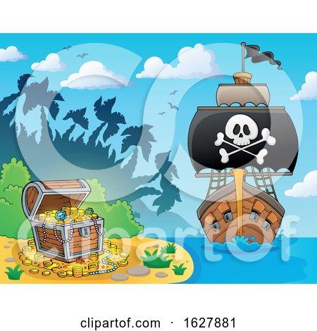 Pirate Ship near a Treasure Island by visekart