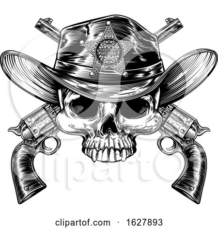 Sheriff Badge Hat Skull and Pistols by AtStockIllustration