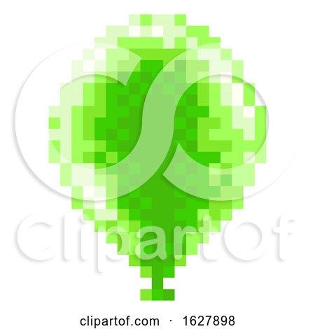 Pixel Art 8 Bit Arcade Video Game Balloon Icon by AtStockIllustration