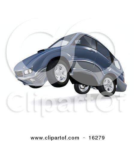 Clipart Graphic of a Powerful or Quiet Car Up On Its Hind Wheels by Anastasiya Maksymenko