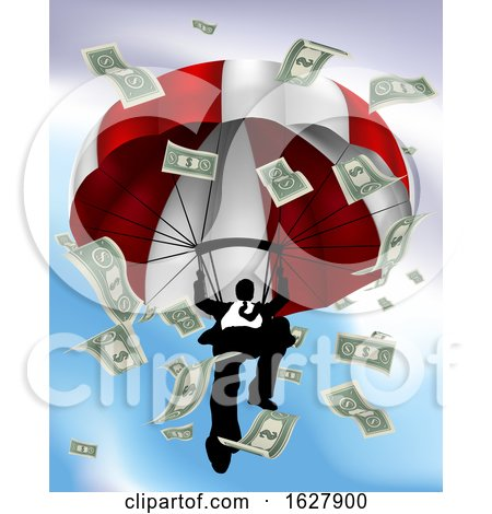 Parachuting Cash Silhouette Business Man by AtStockIllustration