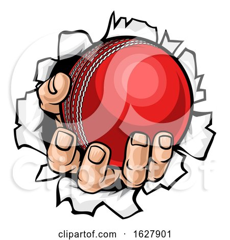 Cricket Ball Hand Tearing Background by AtStockIllustration