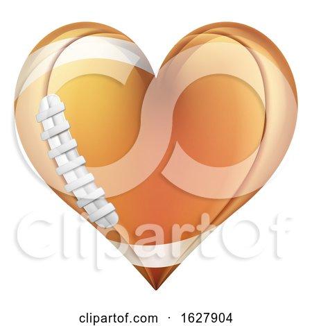 Heart Shape American Football Ball by AtStockIllustration