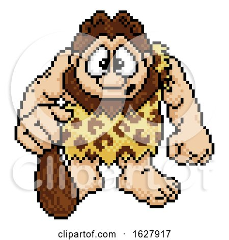 Caveman in Pixel Art 8 Bit Arcade Video Game Style by AtStockIllustration