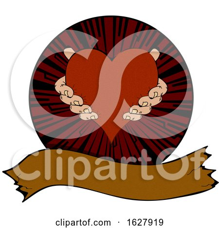 Hands Holding a Heart in a Circle over a Banner Posters, Art Prints
