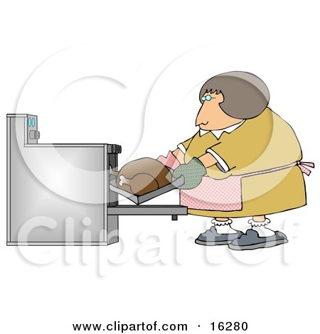 Clipart Illustration Image of a Middleaged Caucasian Woman Wearing Mis-Matched Oven Mits And Putting A Turkey In The Oven While Cooking For Thanksgiving Or Christmas Dinner by djart
