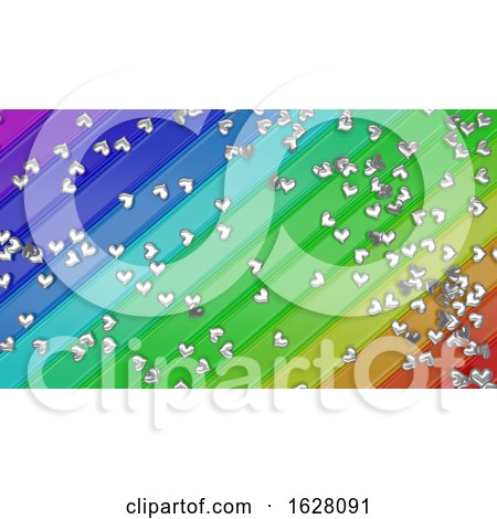 3D Render of Hearts on Rainbow Background Posters, Art Prints