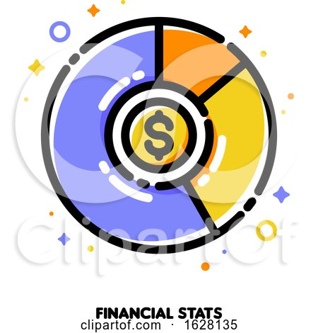 Icon of Multicolor Pie Chart with Golden Dollar Coin for Financial Stats or Business Analysis Concept. Flat Filled Outline Style. Pixel Perfect 64x64. Editable Stroke by elena