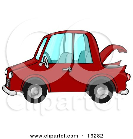 Compact Red Car With An Open Trunk In Profile Posters, Art Prints