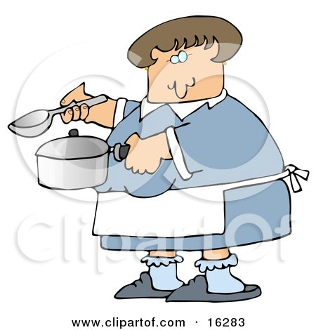 Caucasian Woman In A Blue Dress, White Apron, Blue Socks And Slippers, Holding A Spoon And Pot While Cooking Soup For Supper In A Kitchen Posters, Art Prints