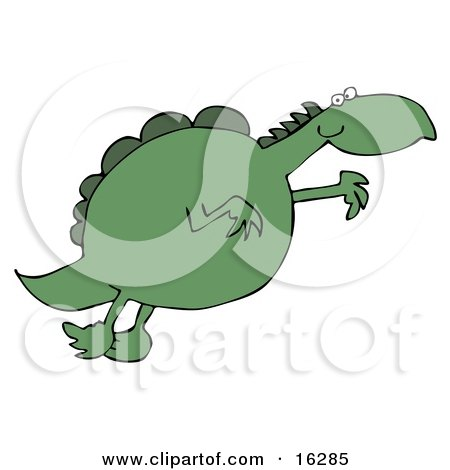 Clipart Illustration Image of a Chubby Green Dinosaur Leaping Through The Air While Jumping For Something He Wants by djart