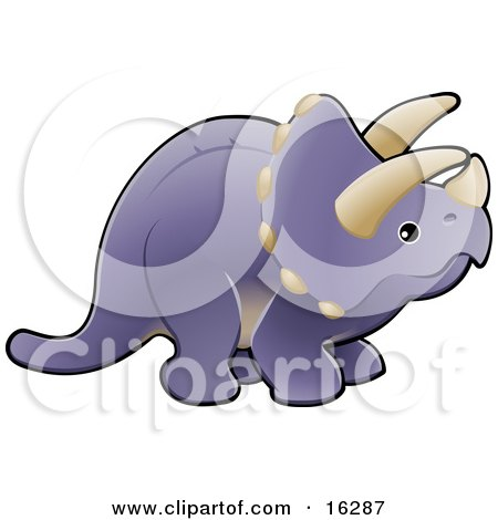 Baby Purple Triceratops Dinosaur With Horns  Posters, Art Prints