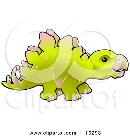 Baby Green Stegosaur Dinosaur in Profile Clipart Illustration Image by AtStockIllustration