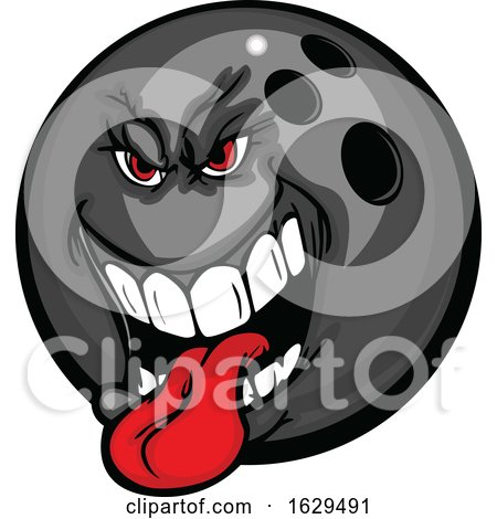 Tough Bowling Ball Mascot Sticking His Tongue out by Chromaco