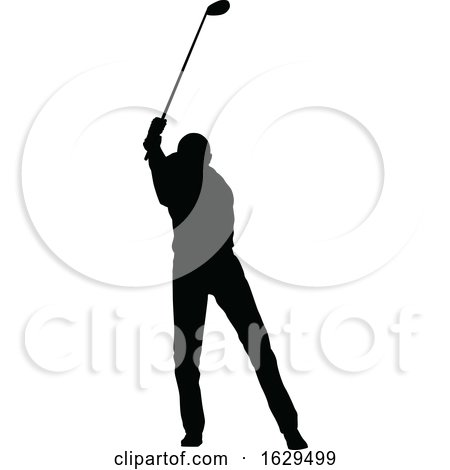 Golfer Golf Sports People Silhouette Set by AtStockIllustration